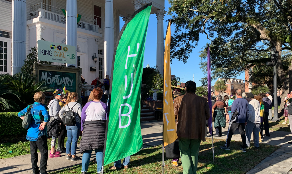 King Cake Hub feather flags